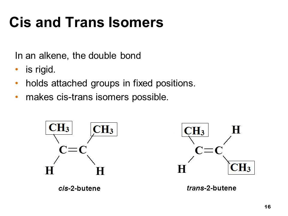 Cis and Trans Isomers In an alkene, the double bond is rigid.