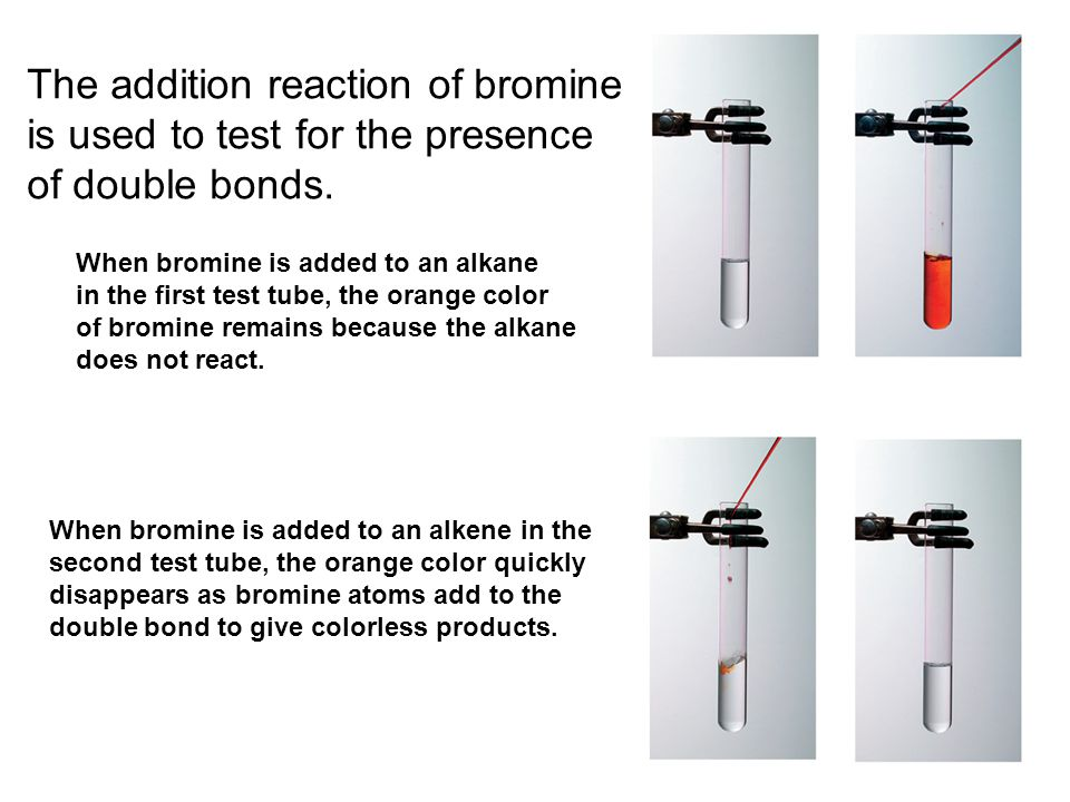 Addition of X2 The addition reaction of bromine