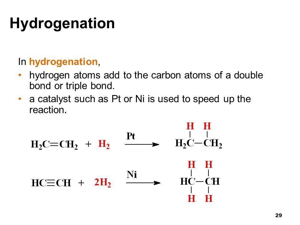 Hydrogenation In hydrogenation,