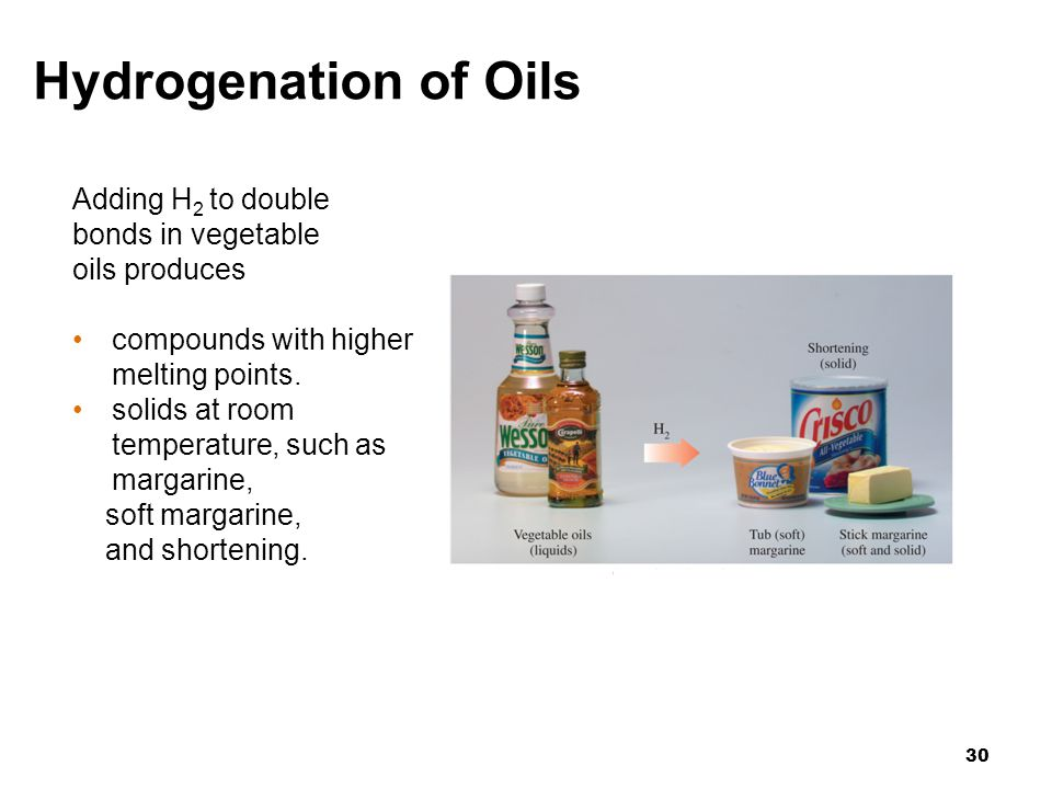 Hydrogenation of Oils Adding H2 to double bonds in vegetable