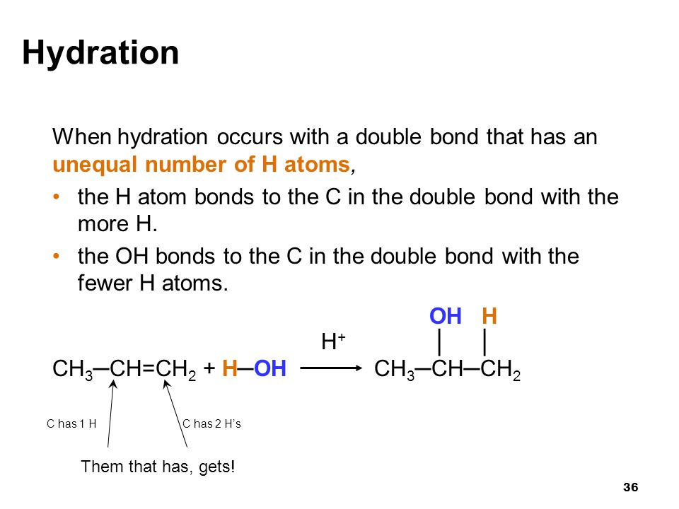 Hydration When hydration occurs with a double bond that has an