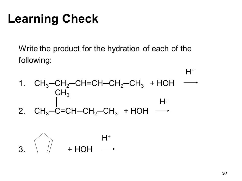 Learning Check Write the product for the hydration of each of the