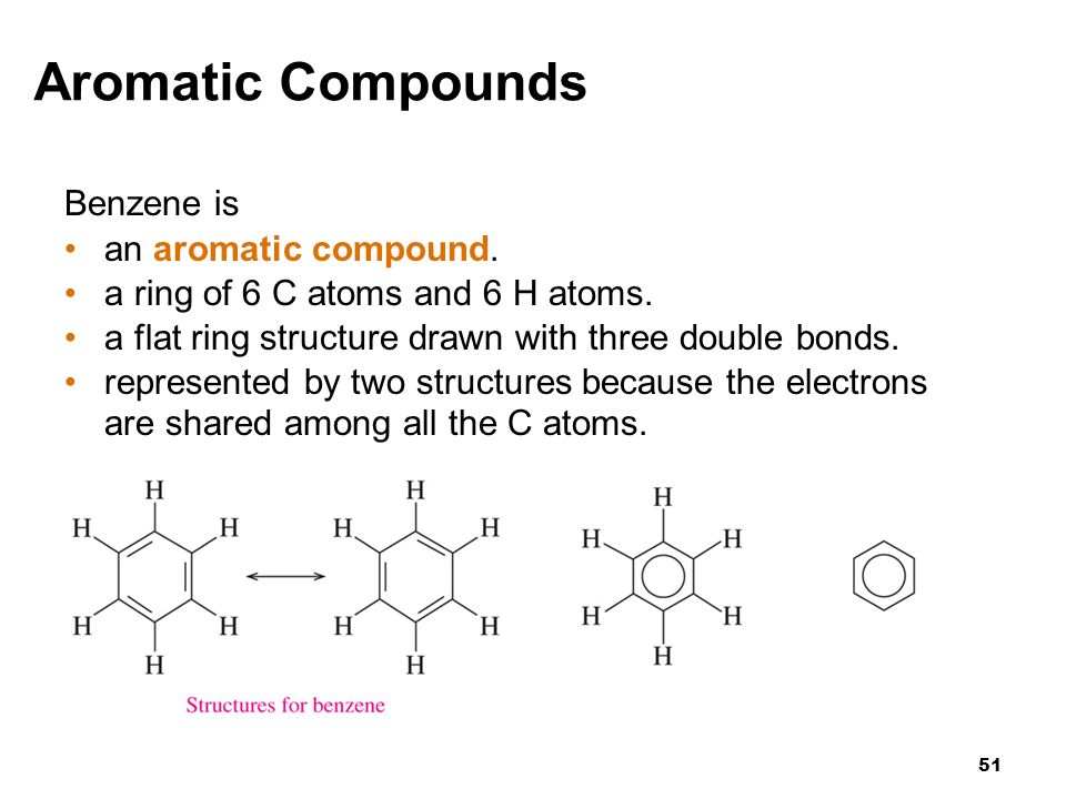 Aromatic Compounds Benzene is an aromatic compound.