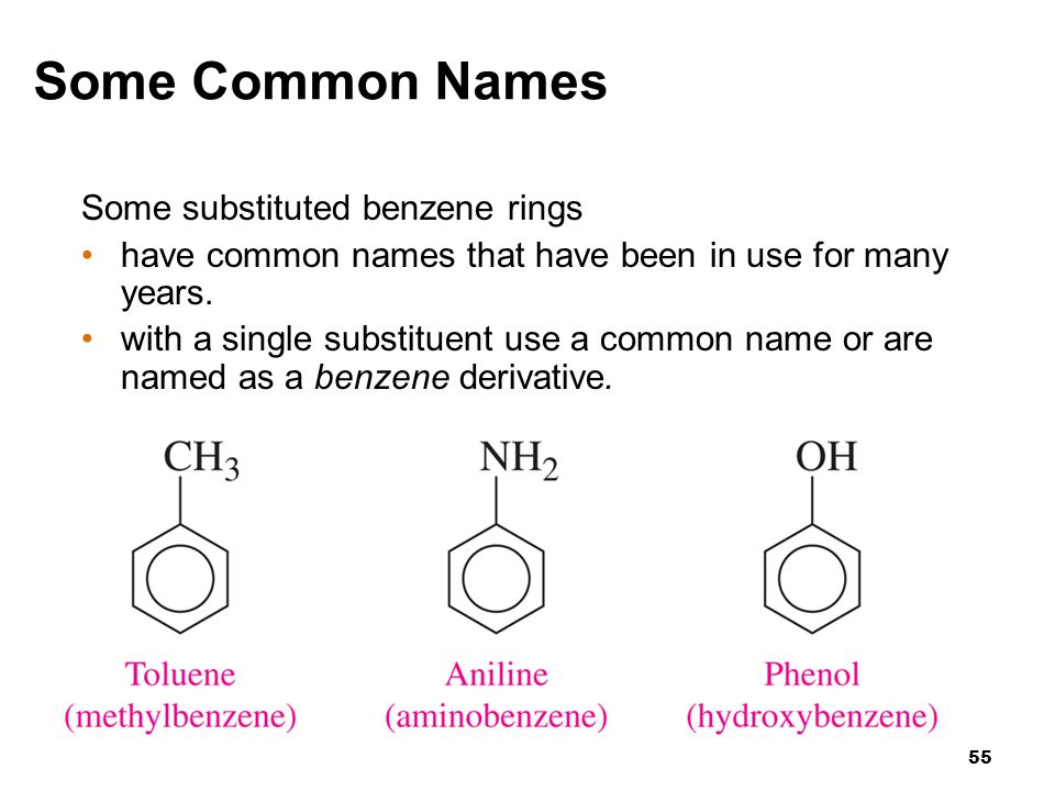Some Common Names Some substituted benzene rings
