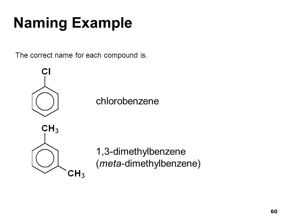 Naming Example chlorobenzene 1,3-dimethylbenzene