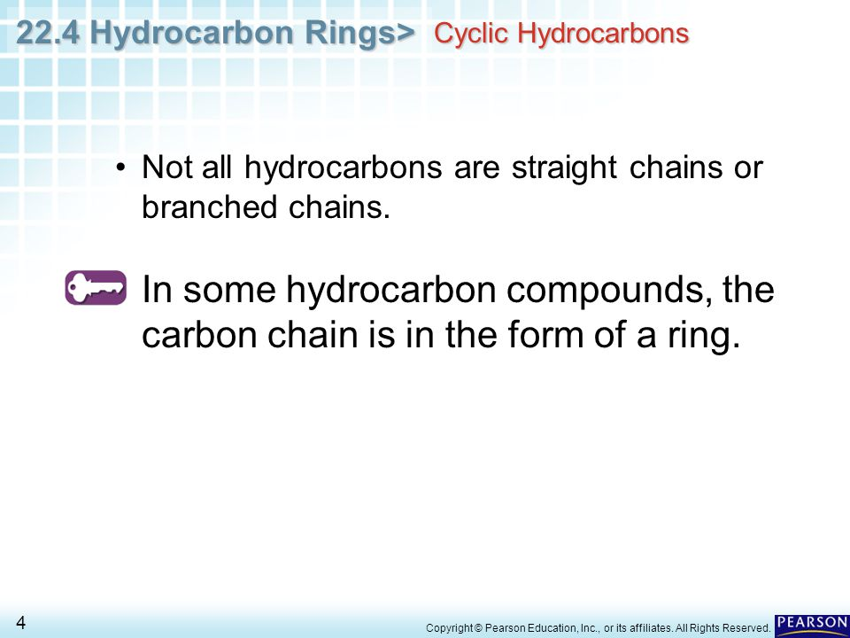 Cyclic Hydrocarbons Not all hydrocarbons are straight chains or branched chains.