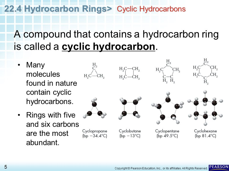 Cyclic Hydrocarbons A compound that contains a hydrocarbon ring is called a cyclic hydrocarbon.