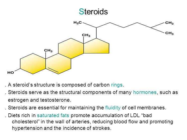 Steroids . A steroid's structure is composed of carbon rings.