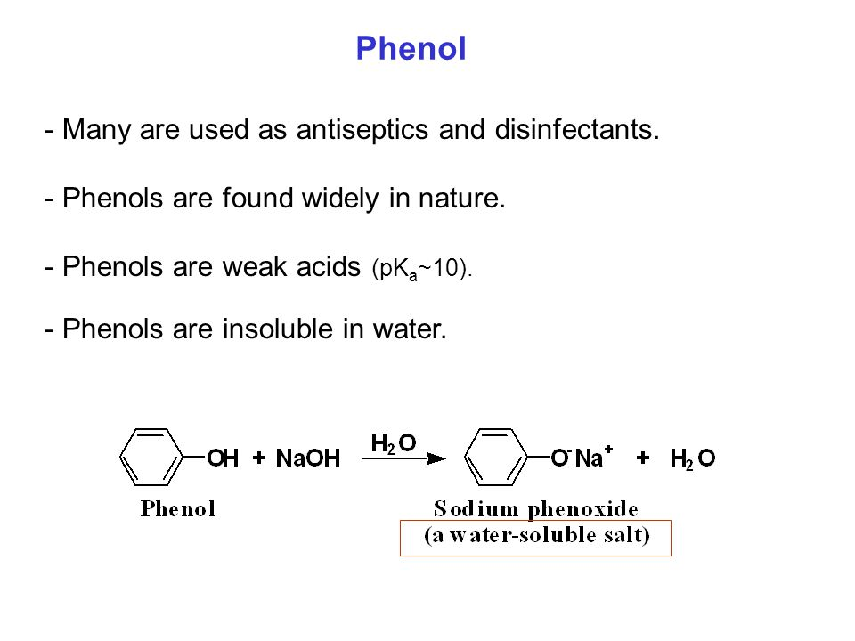 Phenol Many are used as antiseptics and disinfectants.