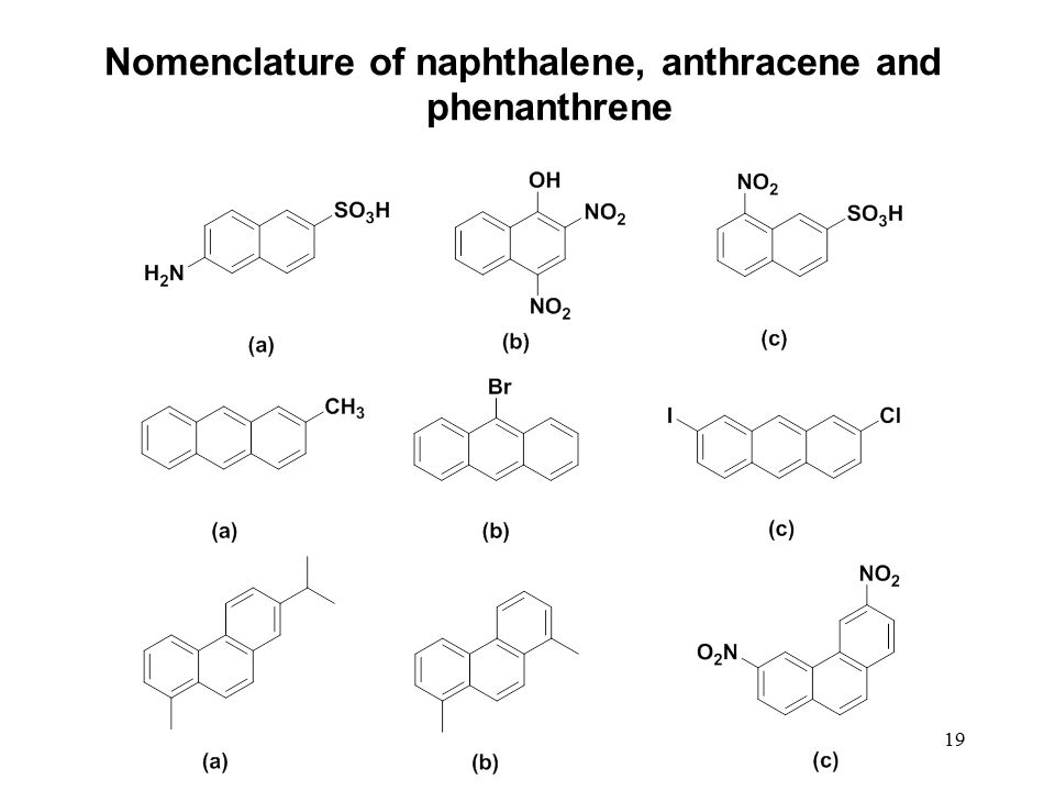 Nomenclature of naphthalene, anthracene and phenanthrene