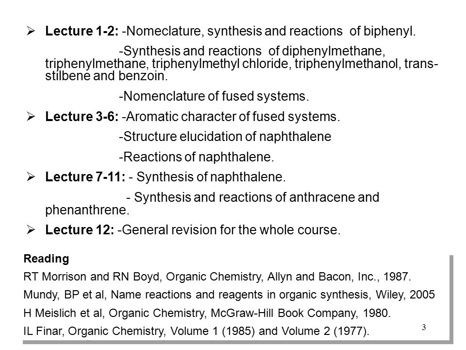 Lecture 1-2: -Nomeclature, synthesis and reactions of biphenyl.