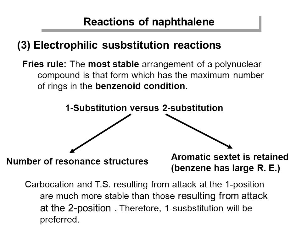 Reactions of naphthalene (3) Electrophilic susbstitution reactions