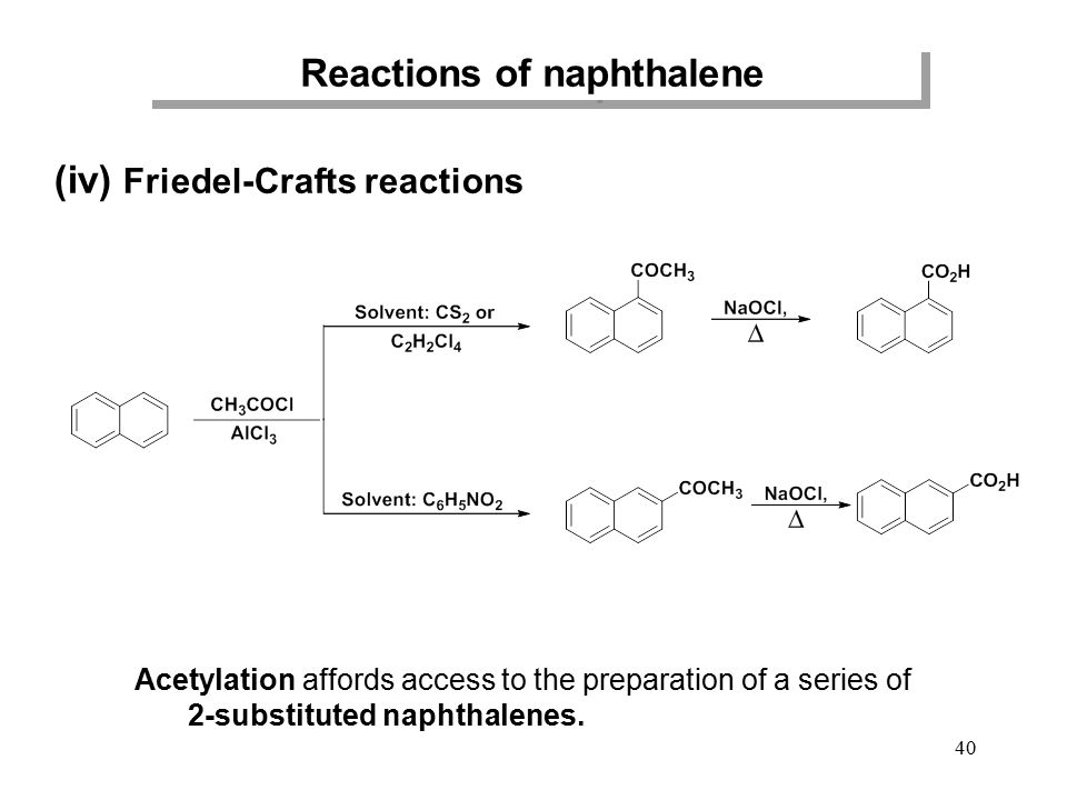 Reactions of naphthalene (iv) Friedel-Crafts reactions