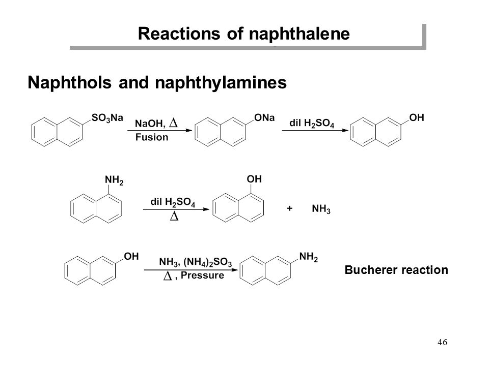 Reactions of naphthalene Naphthols and naphthylamines