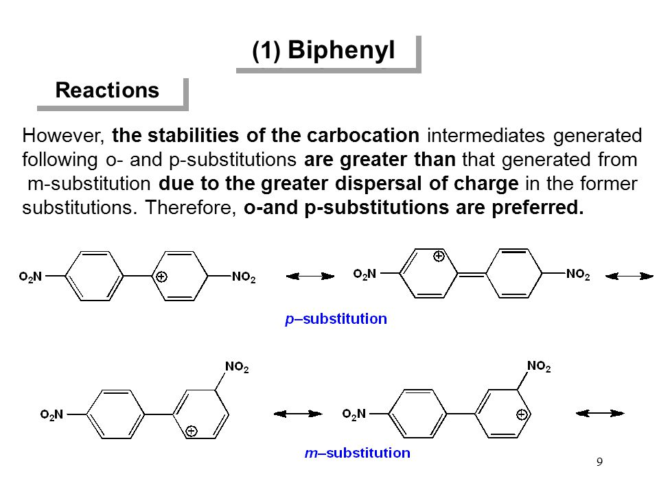 (1) Biphenyl Reactions. However, the stabilities of the carbocation intermediates generated.