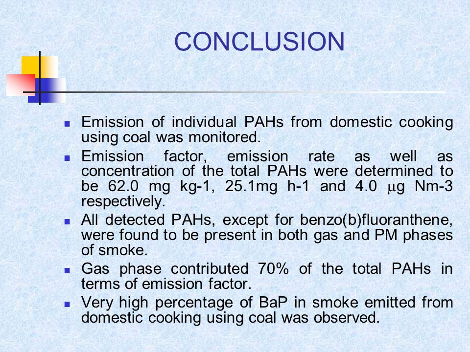 CONCLUSION Emission of individual PAHs from domestic cooking using coal was monitored.
