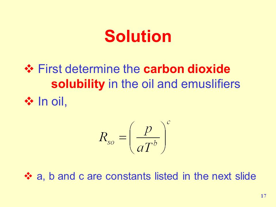 Solution First determine the carbon dioxide solubility in the oil and emuslifiers.