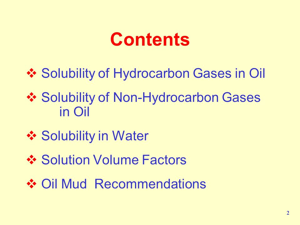 Contents Solubility of Hydrocarbon Gases in Oil