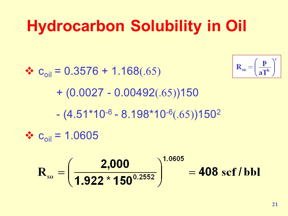 Hydrocarbon Solubility in Oil