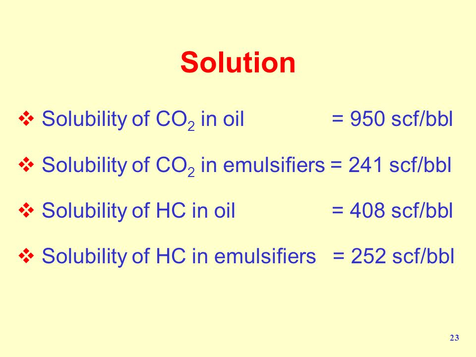Solution Solubility of CO2 in oil = 950 scf/bbl