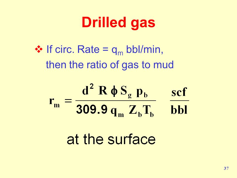 Drilled gas If circ. Rate = qm bbl/min, then the ratio of gas to mud