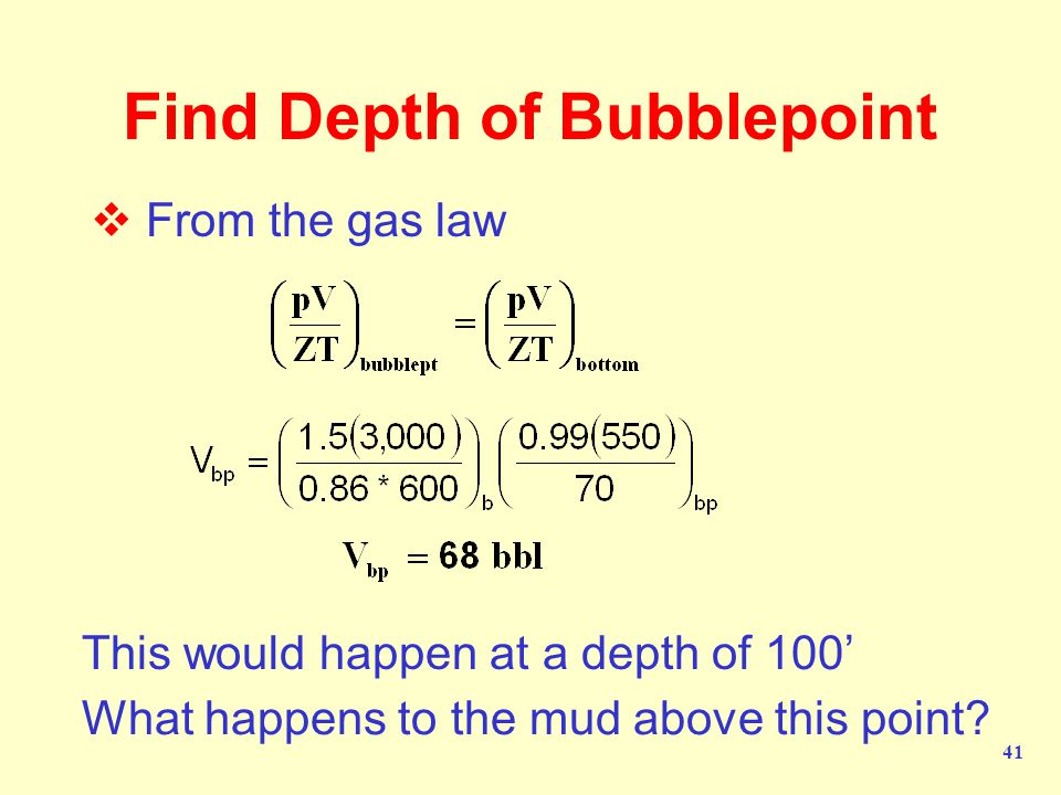 Find Depth of Bubblepoint