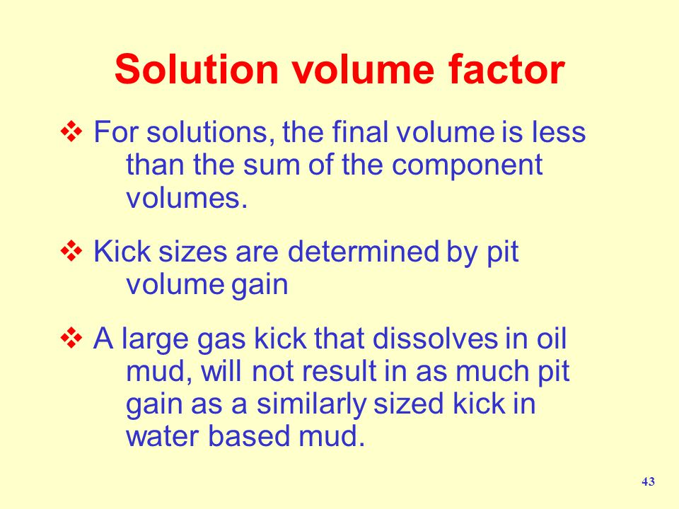 Solution volume factor