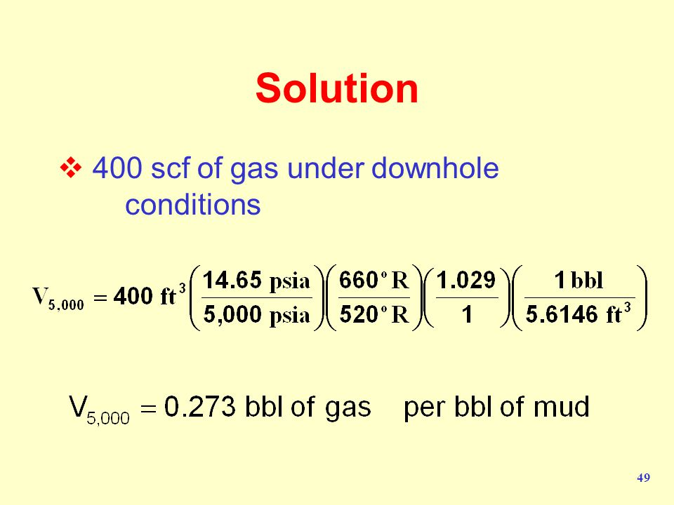 Solution 400 scf of gas under downhole conditions