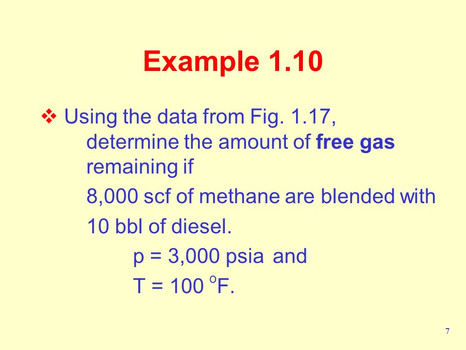 Example 1.10 Using the data from Fig. 1.17, determine the amount of free gas remaining if. 8,000 scf of methane are blended with.