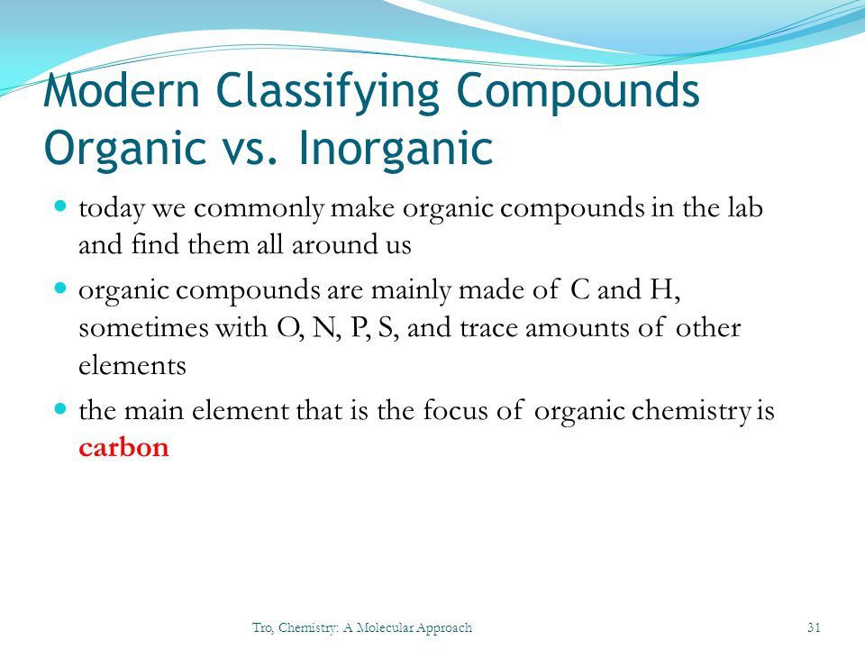 Modern Classifying Compounds Organic vs. Inorganic