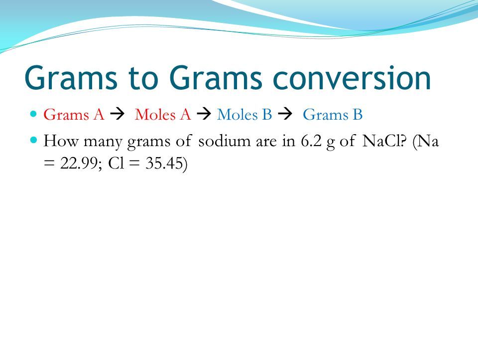 Grams to Grams conversion