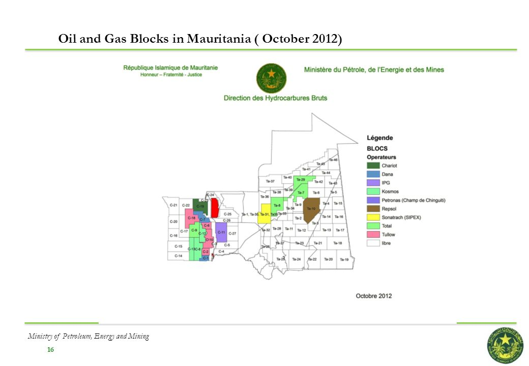 Oil and Gas Blocks in Mauritania ( October 2012)