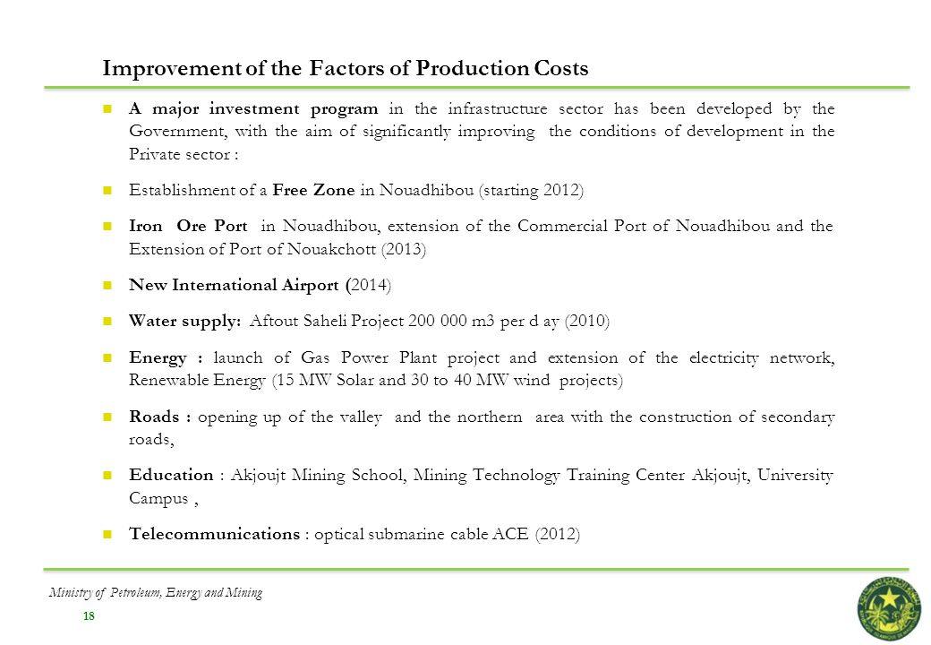 Improvement of the Factors of Production Costs