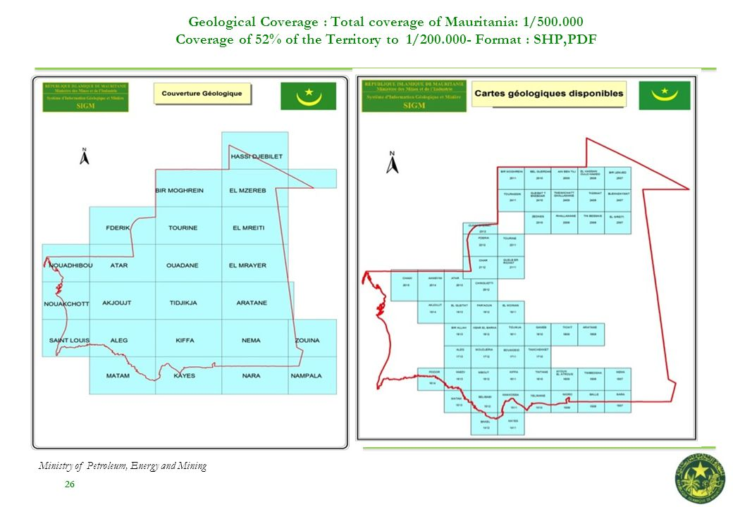 Geological Coverage : Total coverage of Mauritania: 1/500