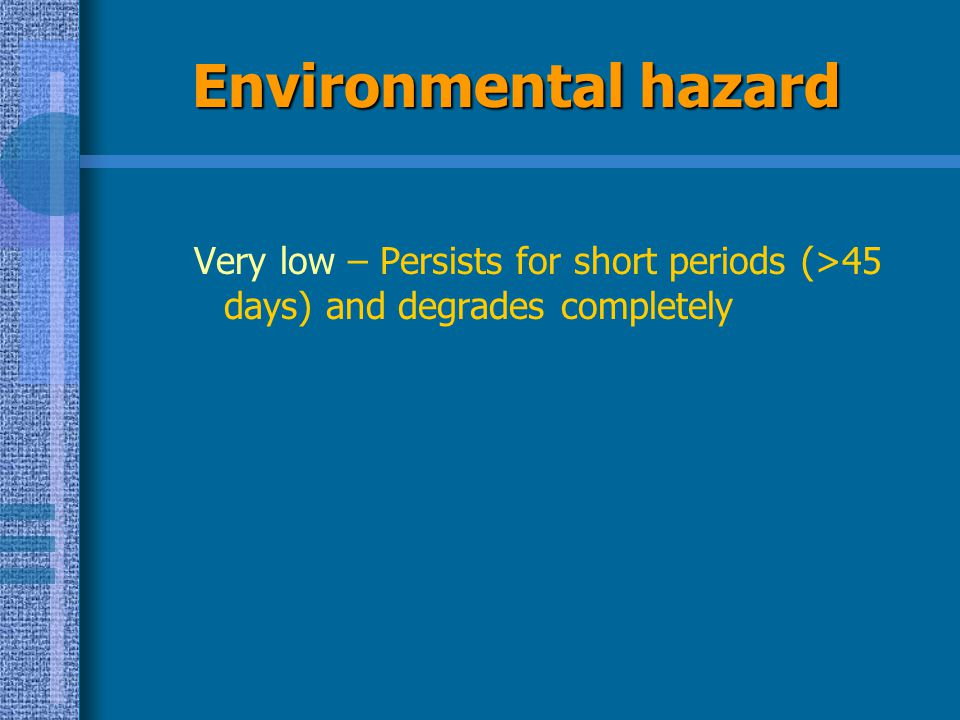 Environmental hazard Very low – Persists for short periods (>45 days) and degrades completely