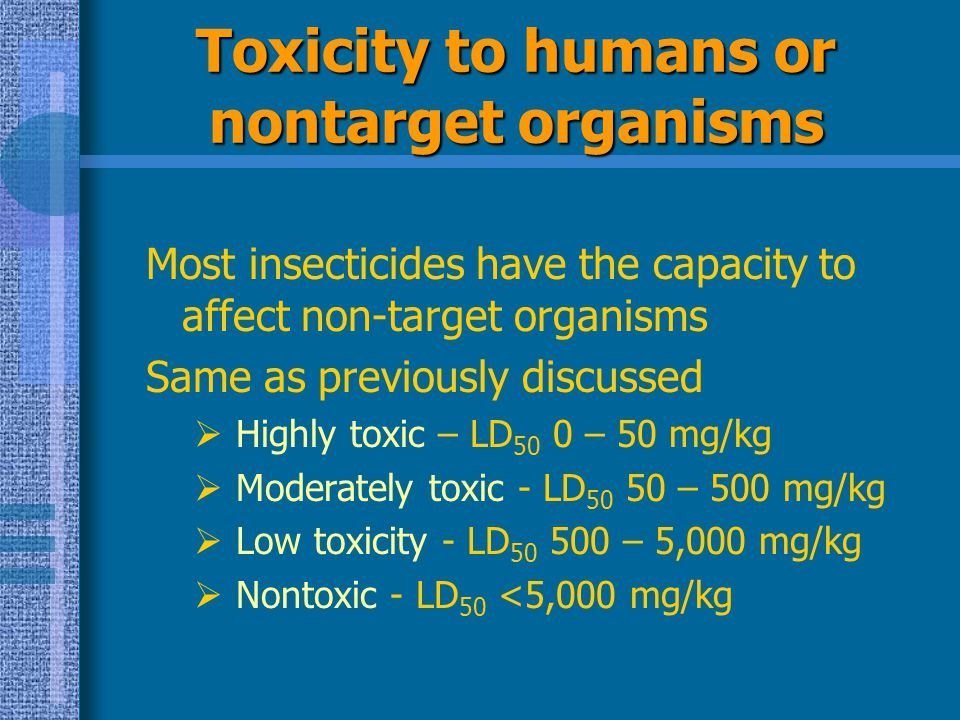 Toxicity to humans or nontarget organisms