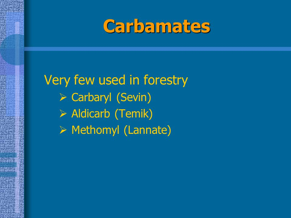 Carbamates Very few used in forestry Carbaryl (Sevin) Aldicarb (Temik)