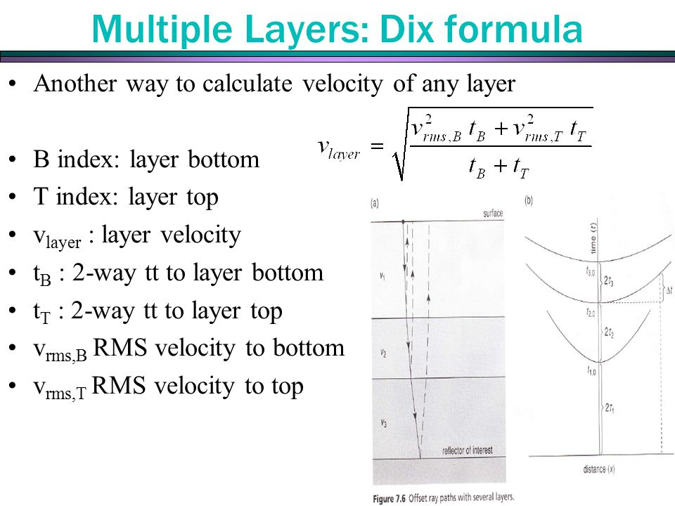 Multiple Layers: Dix formula