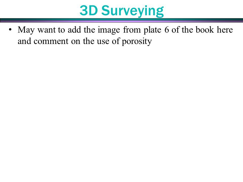 3D Surveying May want to add the image from plate 6 of the book here and comment on the use of porosity.