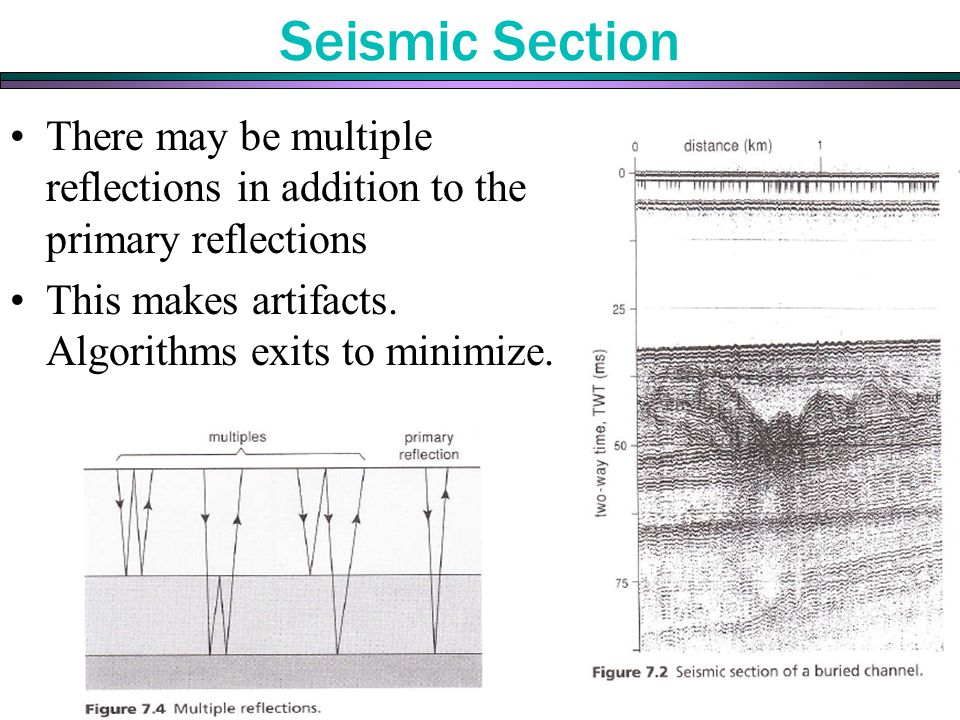 Seismic Section There may be multiple reflections in addition to the primary reflections.