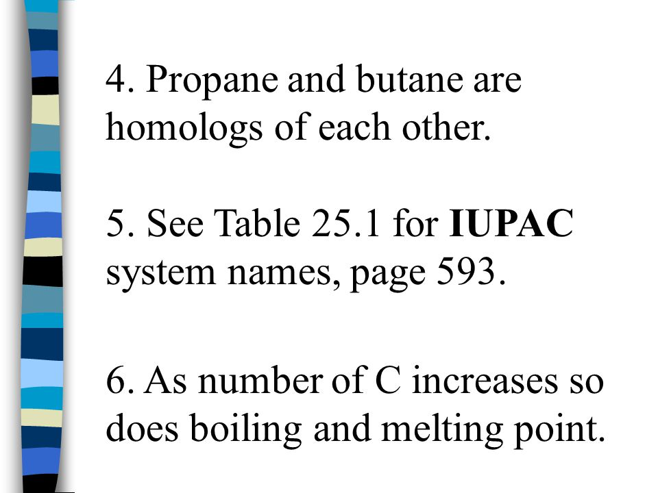4. Propane and butane are homologs of each other.