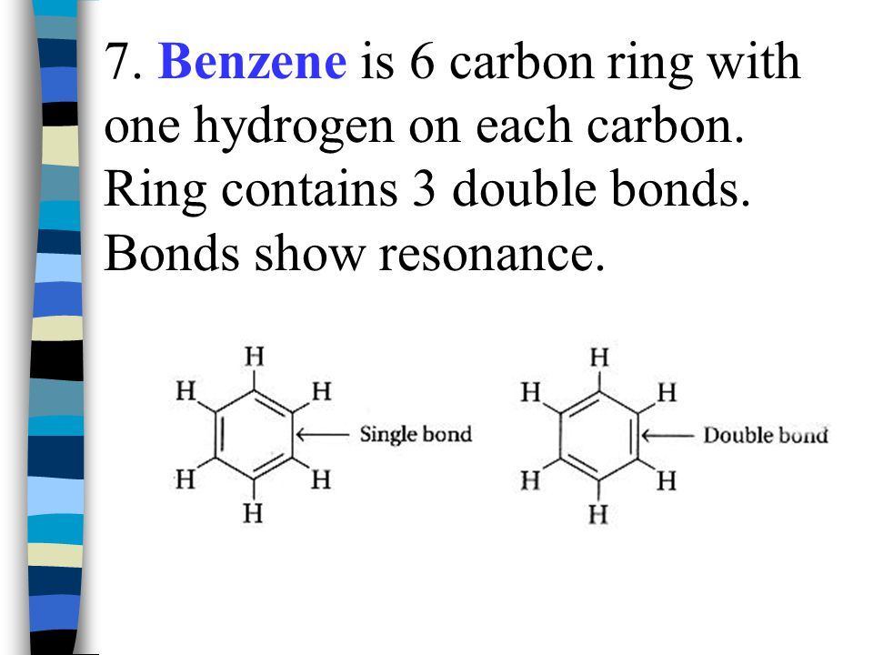 7. Benzene is 6 carbon ring with one hydrogen on each carbon
