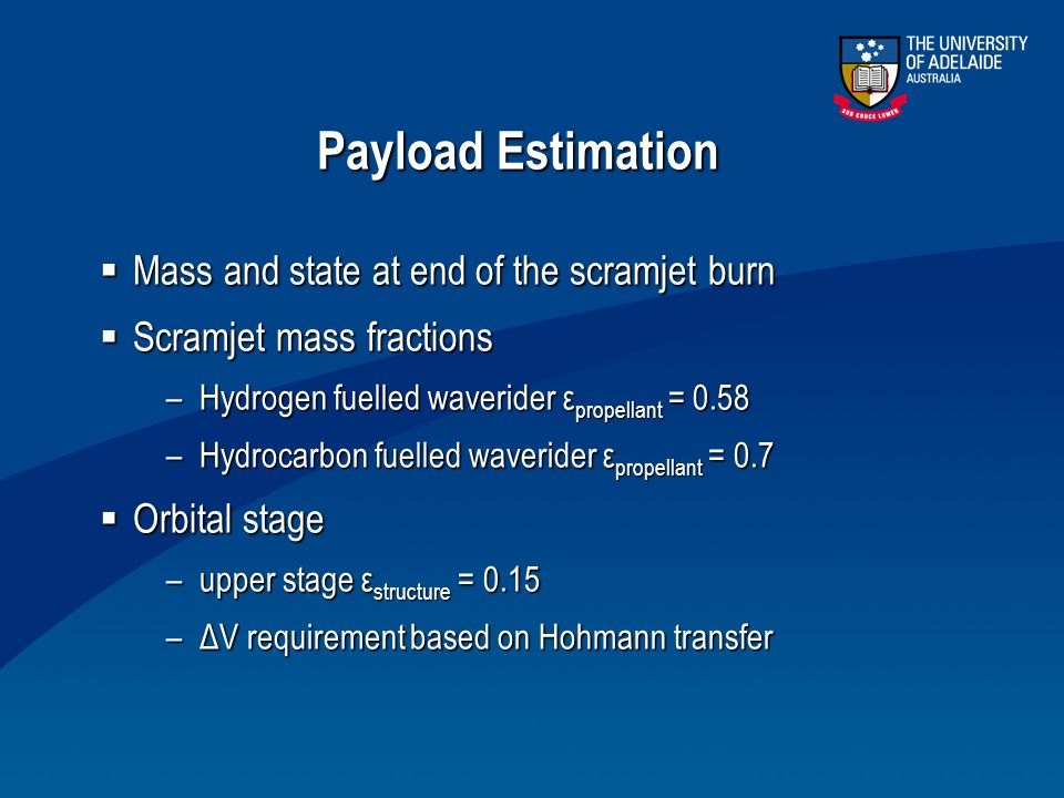 Payload Estimation Mass and state at end of the scramjet burn