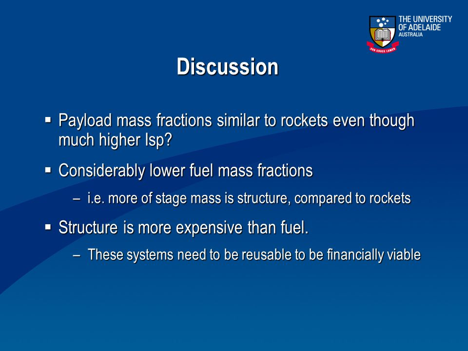 Discussion Payload mass fractions similar to rockets even though much higher Isp Considerably lower fuel mass fractions.