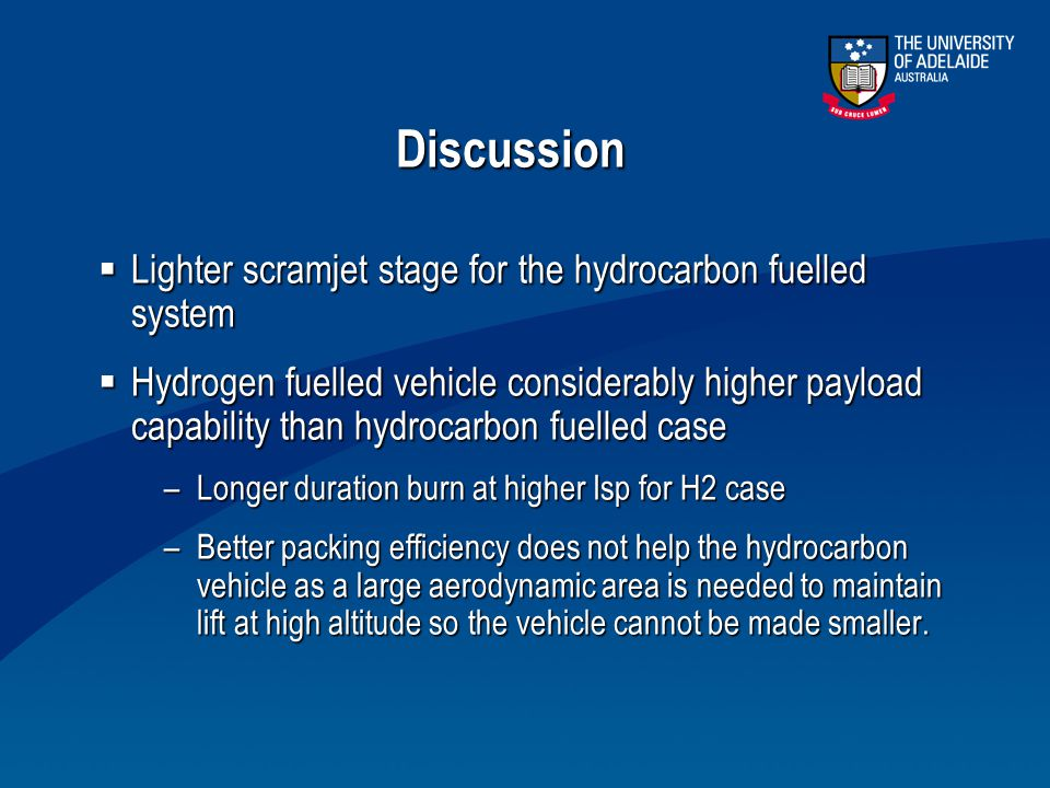 Discussion Lighter scramjet stage for the hydrocarbon fuelled system