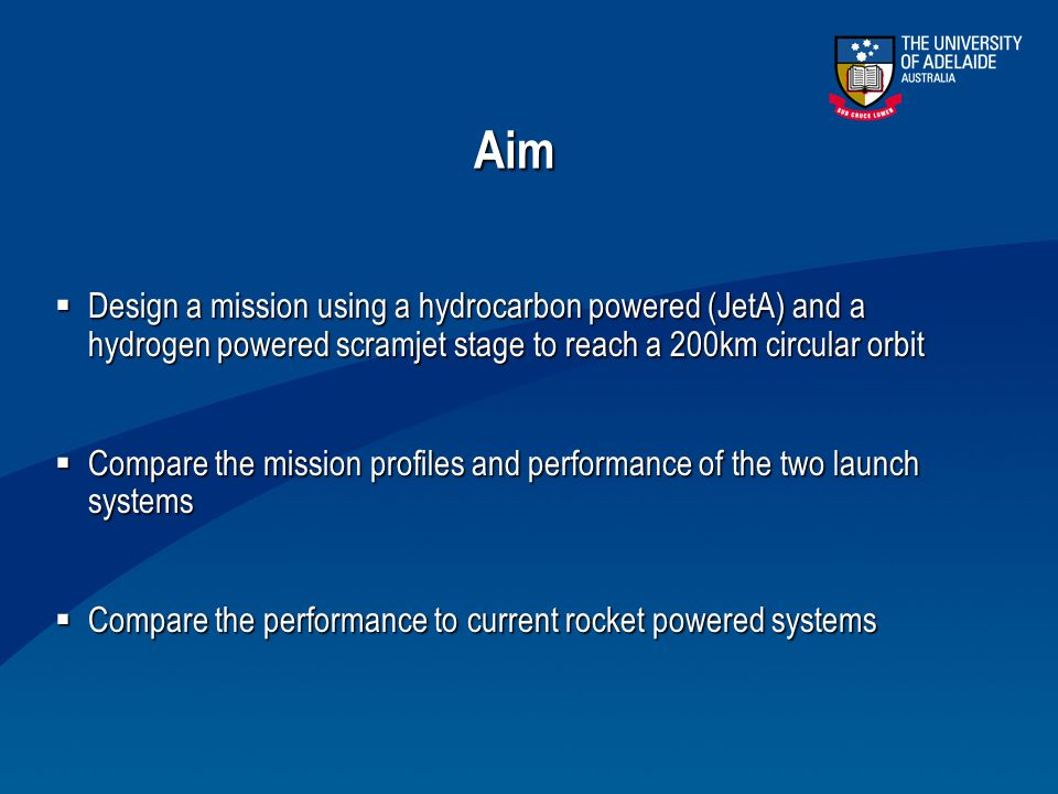 Aim Design a mission using a hydrocarbon powered (JetA) and a hydrogen powered scramjet stage to reach a 200km circular orbit.