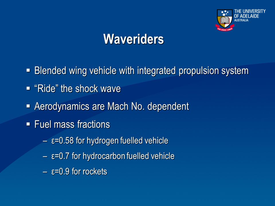 Waveriders Blended wing vehicle with integrated propulsion system
