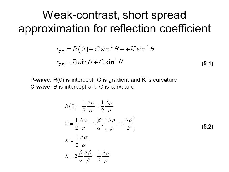 Weak-contrast, short spread approximation for reflection coefficient