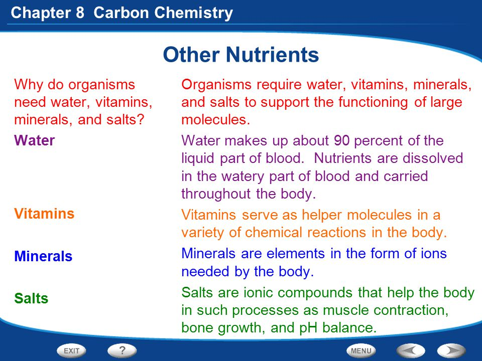 Other Nutrients Why do organisms need water, vitamins, minerals, and salts Water Vitamins Minerals Salts
