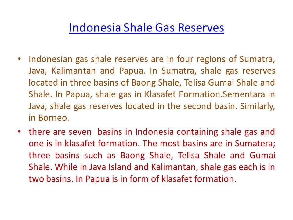 Indonesia Shale Gas Reserves